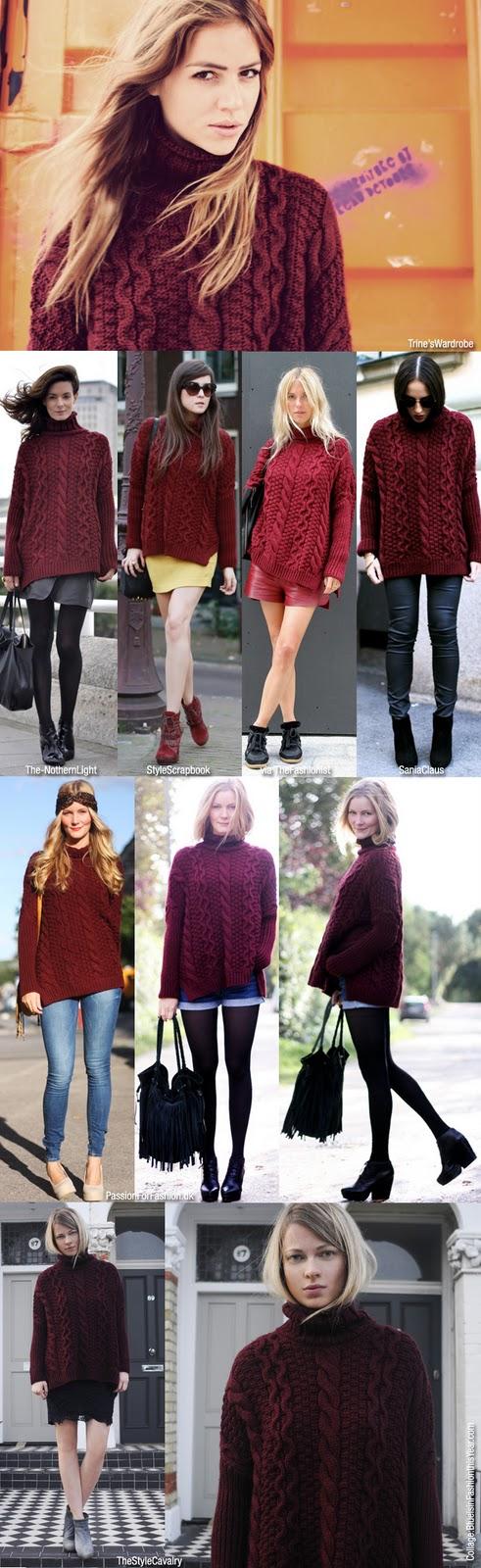Что носить с бордовым джемпером